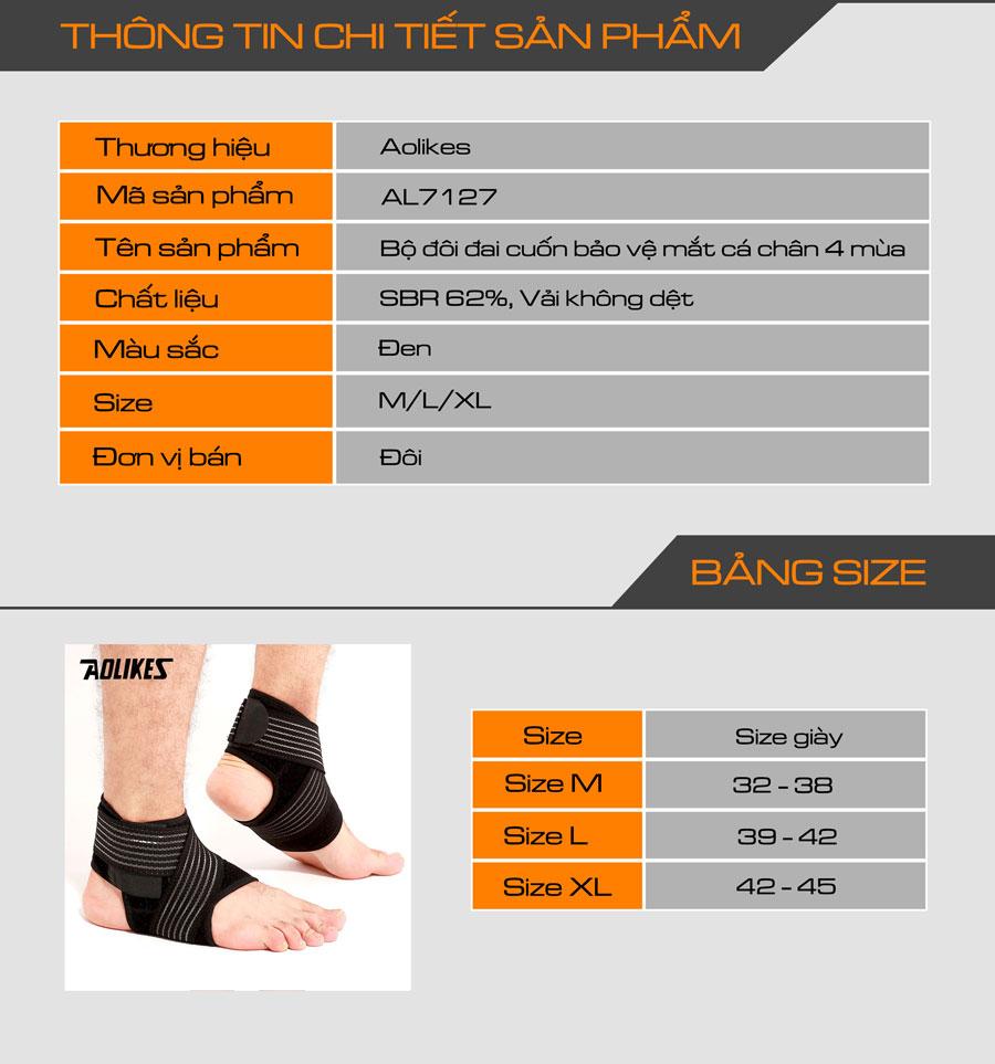 Thông số kỹ thuật của đai cuốn bảo vệ mắt cá chân