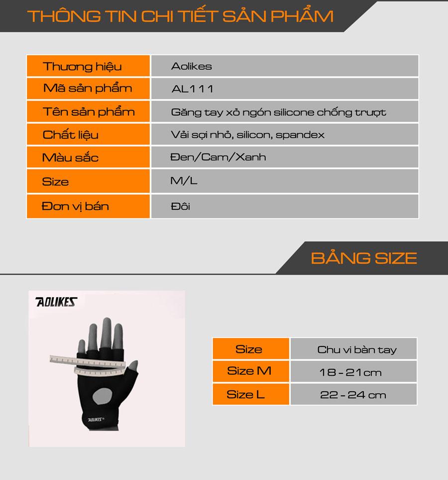 Thông số kỹ thuật cho bộ đôi găng tay xỏ ngón