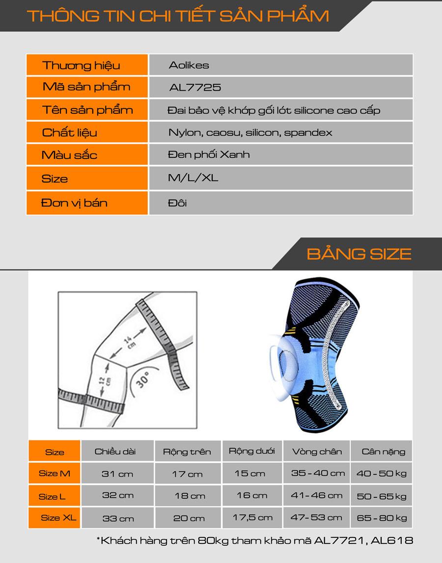 Thông số kỹ thuật của đai bảo vệ khớp gối