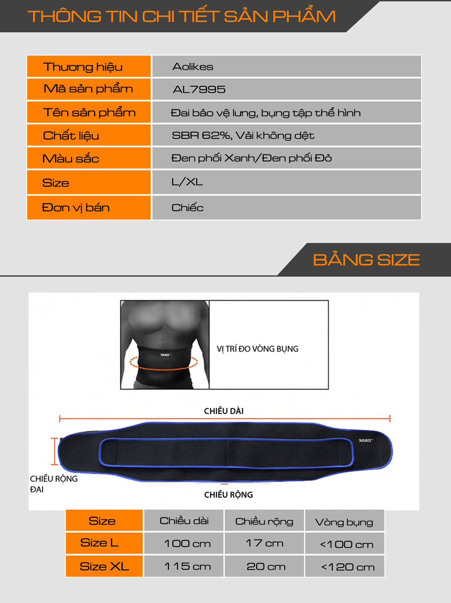 Thông tin chi tiết về đai lưng thể thao