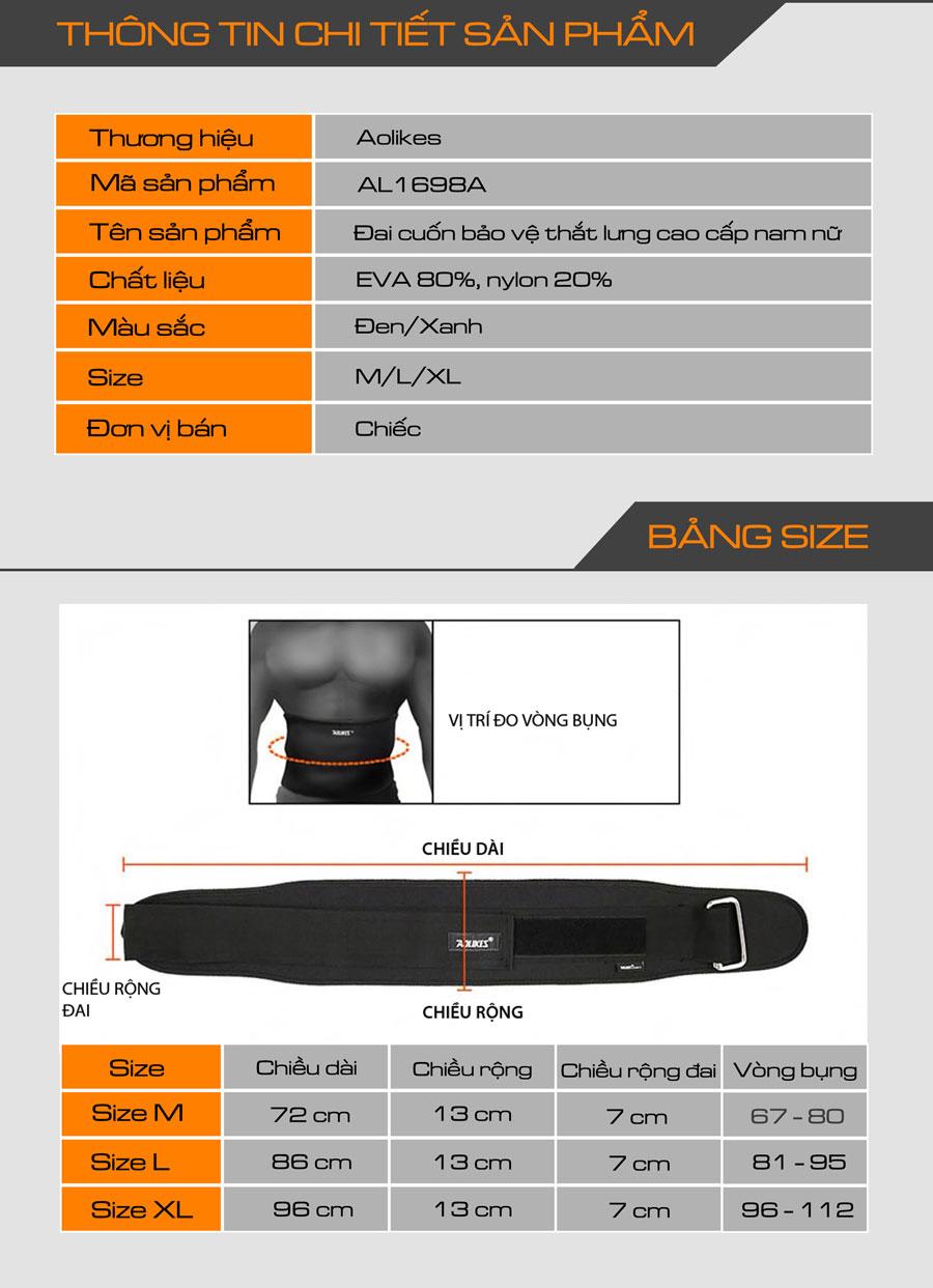 Thông số kỹ thuất của đai bảo vệ thắt lưng