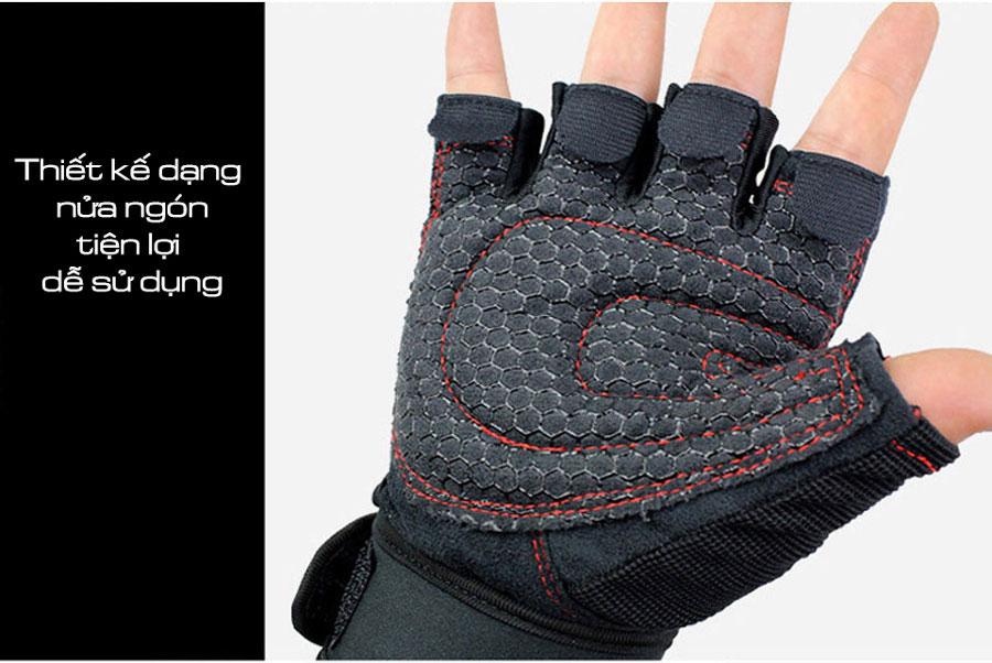 Hình ảnh thực bộ đôi găng tay thể thao Aolikes AL109 thiết kế dạng nửa ngón