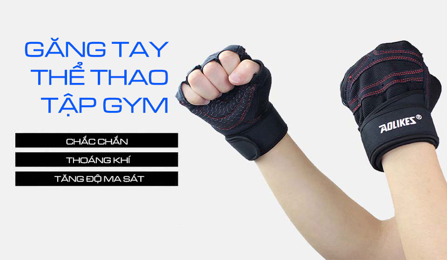 Găng tay thể thao tập gym làm tăng độ chắc chắn, thoáng khí