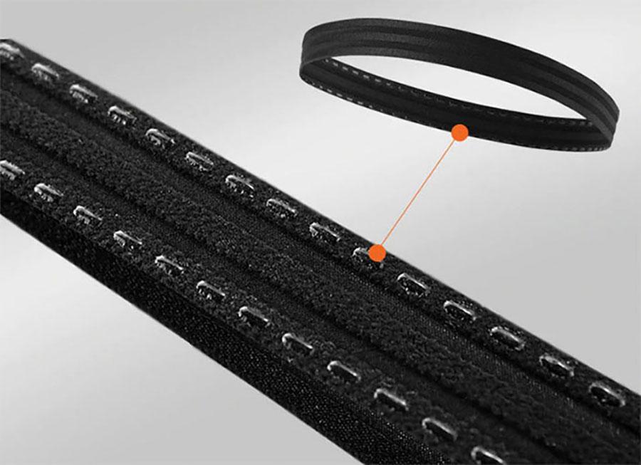 Thiết kế bên trong là viền silicon chống trượt, giúp giữ vững băng trán tại vị trí đeo, dù chạy nhảy, hoạt động vẫn không bị tuột