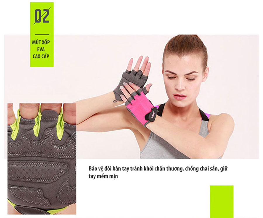Mút xốp EVA cao cấp giúp bảo vệ đôi tay tránh khỏi chấn thương, chống chai sần, giữ tay mềm mịn