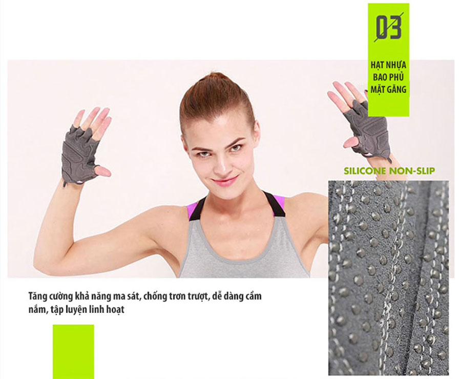 Hạt nhựa bao phủ mặt găng giúp tăng cường khả năng ma sát, chống trơn trượt, dễ dàng cầm nắm