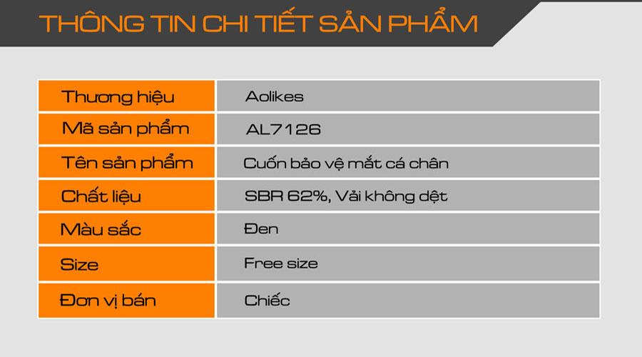 Thông tin chi tiết sản phẩm cuốn bảo vệ mắt cá chấn Aolikes AL7126