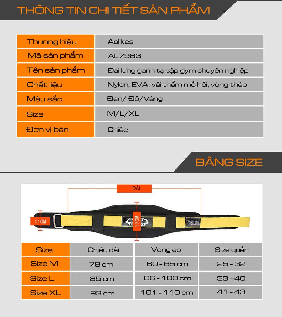 Thông tin chi tiết sản phẩm đai lưng gánh tạ Aolikes AL7983