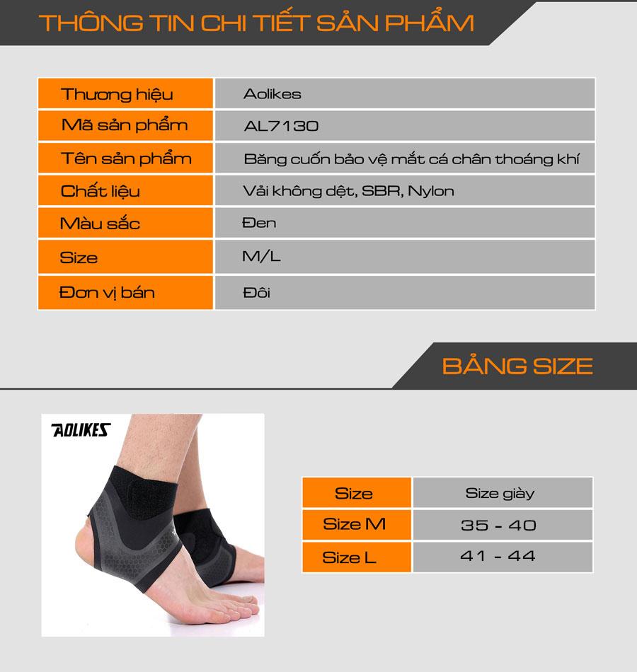 Thông tin chi tiết sản phẩm băng quấn bảo vệ mắt cá chân Aolikes AL7130