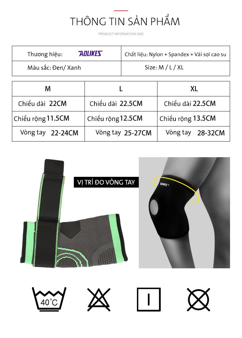 Bảng size để chọn đai bảo vệ khuỷu tay Aolikes AL7548 màu đen thích hợp