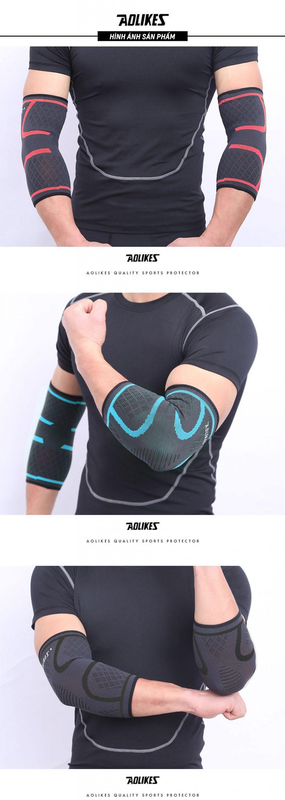 Ảnh người mẫu đeo sản phẩm băng bảo vệ khuỷu tay Aolikes