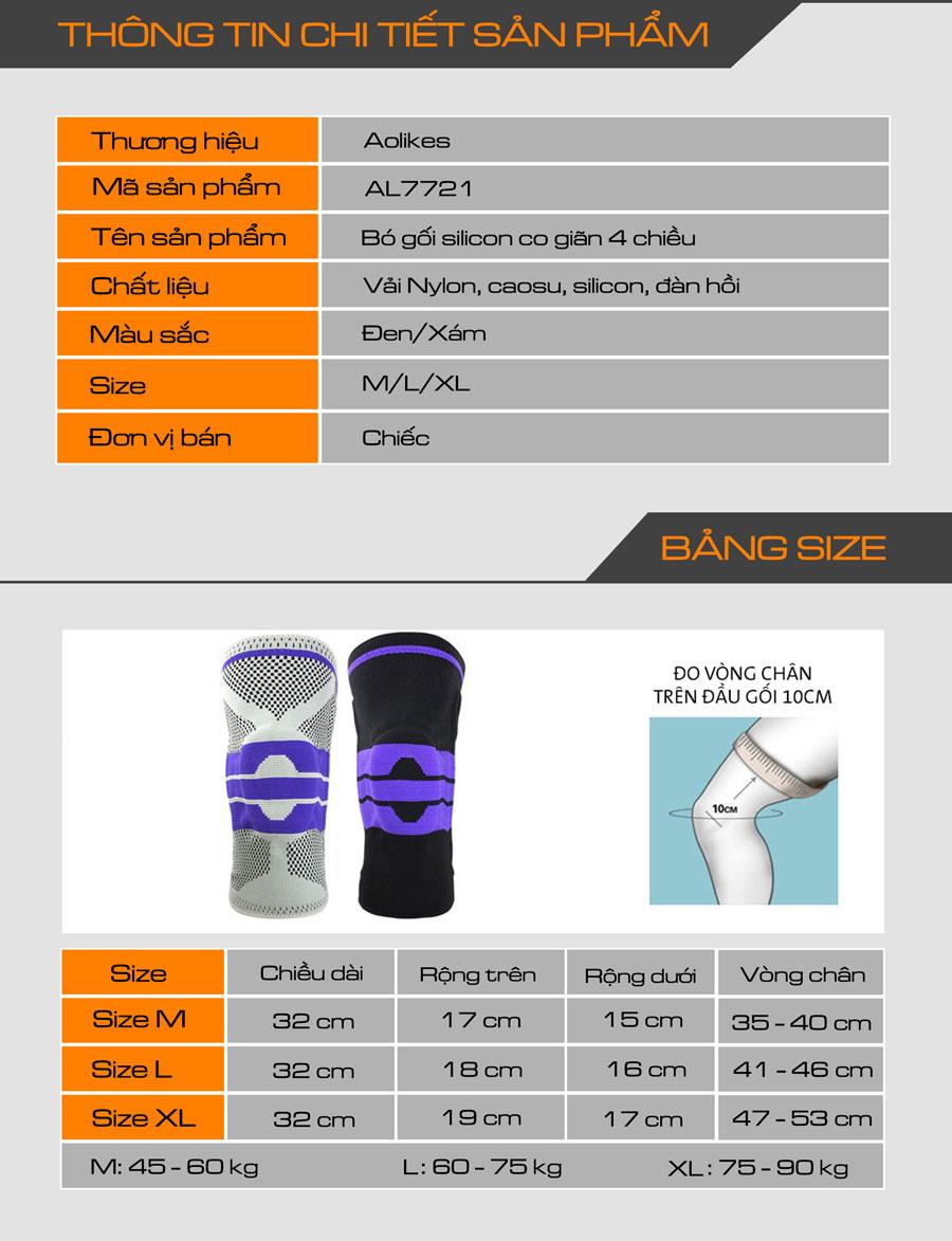 Thông tin chi tiết bó gối silicone co giãn 4 chiều