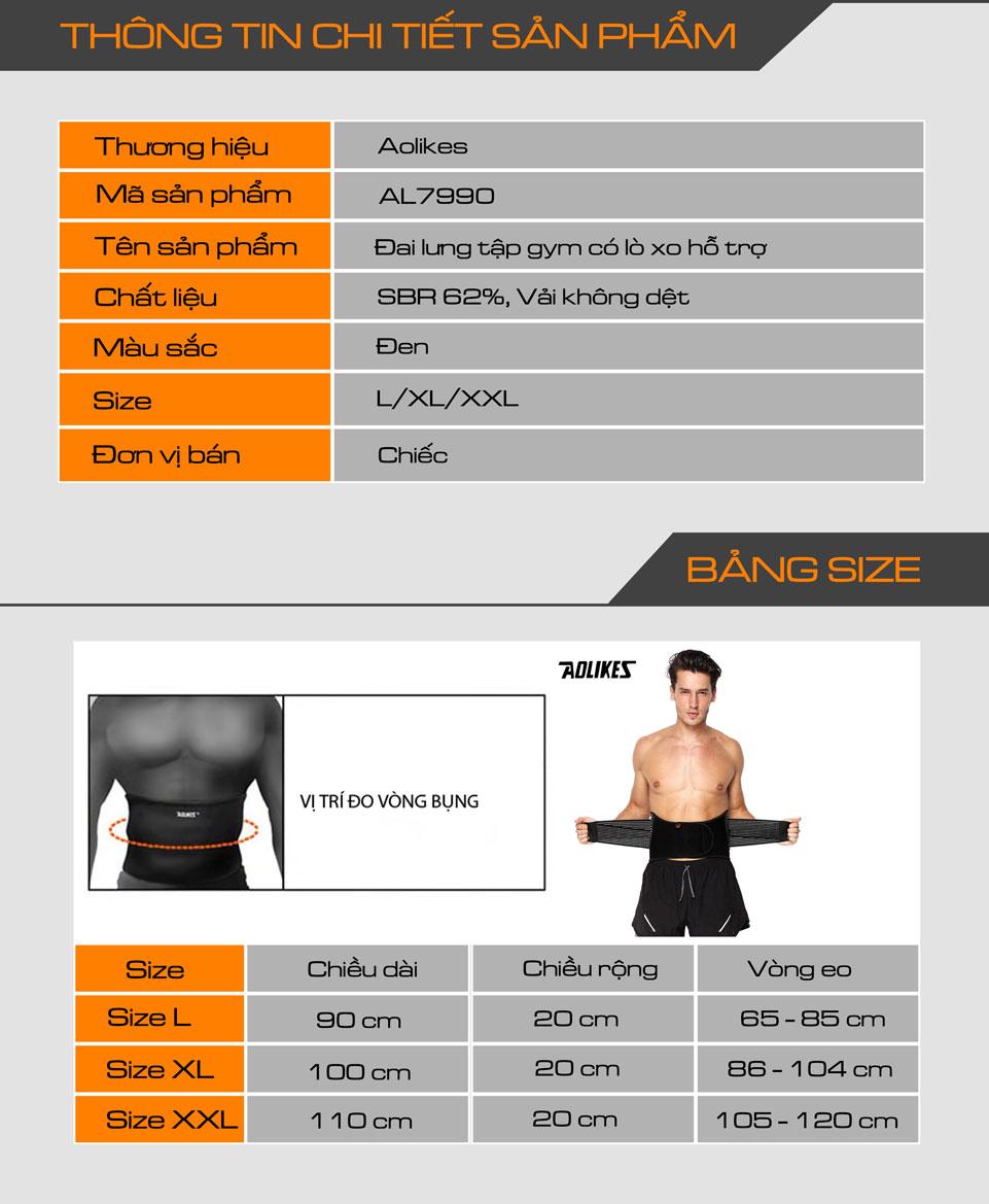 Thông tin chi tiết sản phẩm đai lưng tập gym Aolikes AL7990