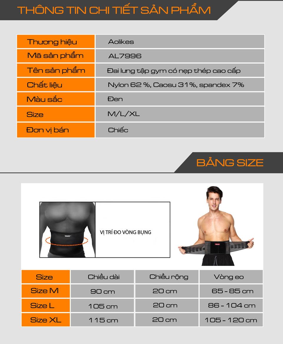 Thông tin chi tiết sản phẩm đai lưng tập gym Aolikes AL7996