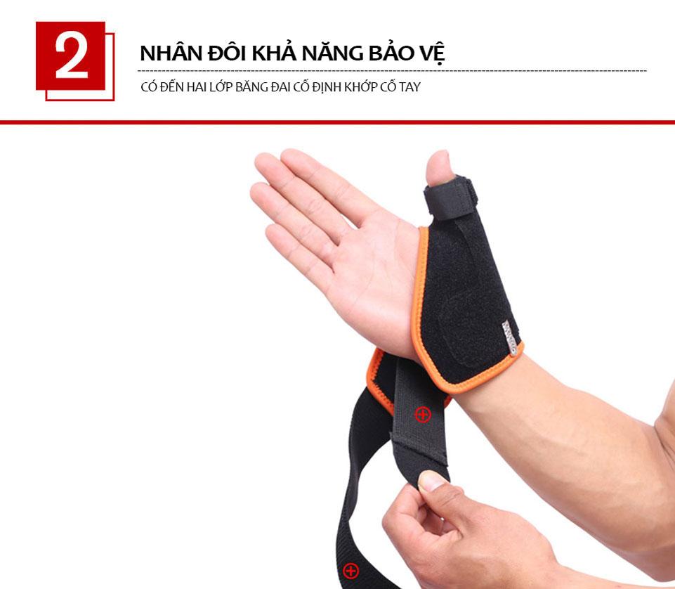 Có 2 lớp băng đai để cố định cổ tay