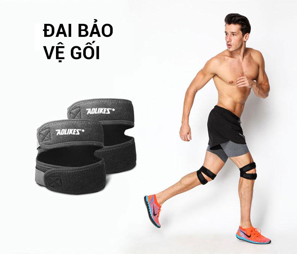 Hình ảnh đai bảo vệ gối khi đeo trên chân