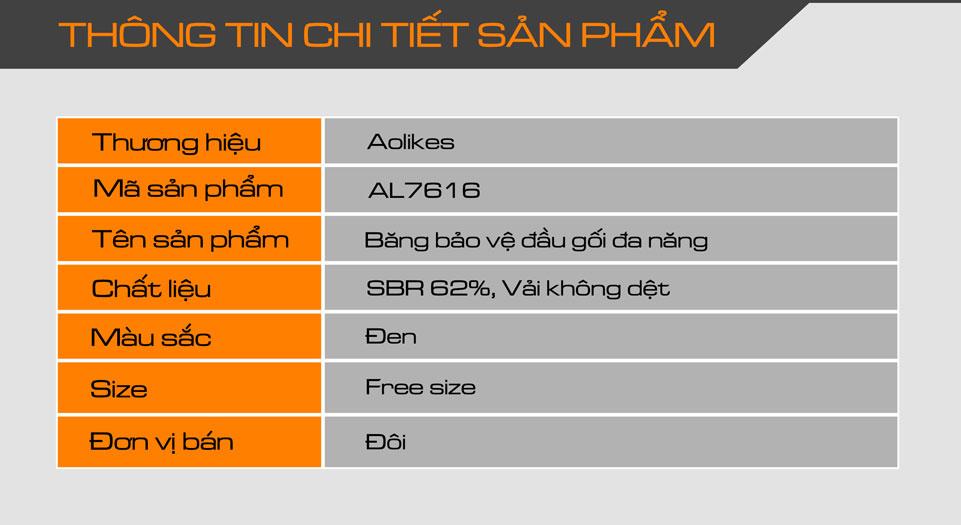 Thông tin chi tiết sản phẩm băng bảo vệ đầu gối Aolikes AL7616