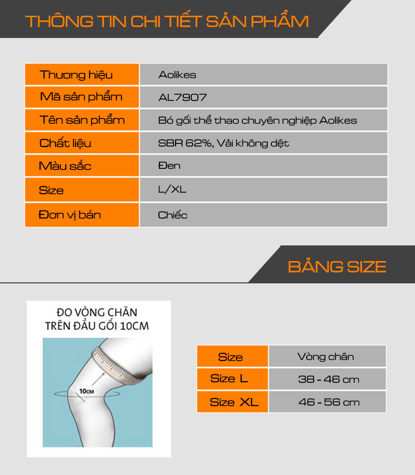 Thông tin chi tiết sản phẩm bó gối Aolikes AL7907