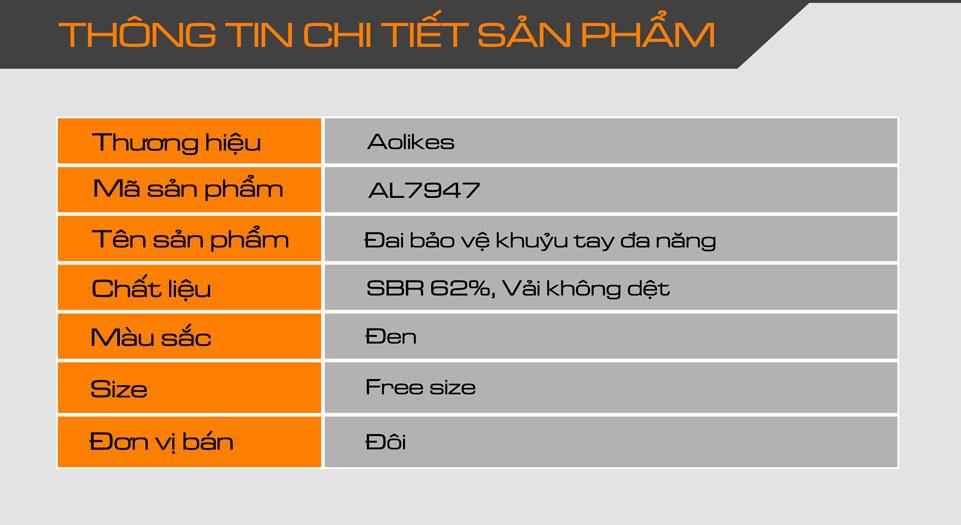 Thông tin chi tiết sản phẩm đai bảo vệ khuỷu tay Aolikes AL7947