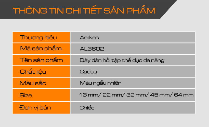 Thông tin chi tiết dây đàn hồi tập thể dục Aolikes AL3602