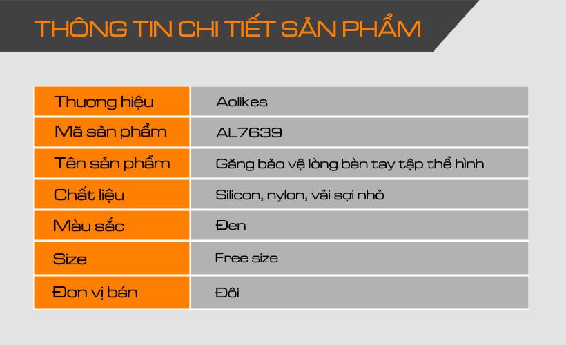 Thông tin chi tiết sản phẩm găng bảo vệ lòng bàn tay Aolikes AL7639
