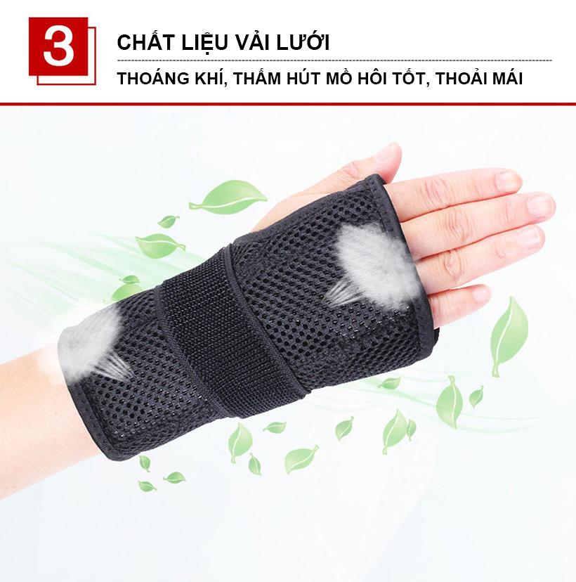 Nẹp bảo vệ cổ tay Aolikes AL1672 bảo vệ toàn diện cổ tay có chất liệu thoáng khí thấm mồ hôi tốt