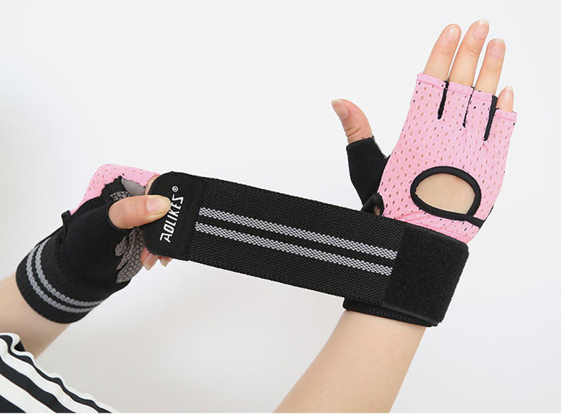 Găng tay nửa ngón tập gym có cuốn cổ Aolikes AL113B