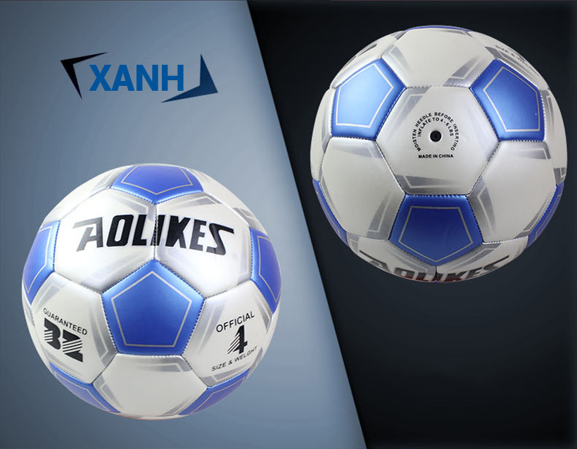 Quả bóng đá số 4 Aolikes AL606 màu xanh