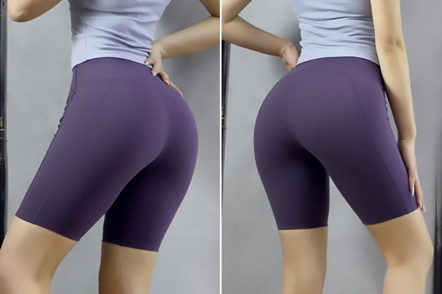 Quần short tập thể thao cạp cao nên che được khuyết điểm bụng mỡ